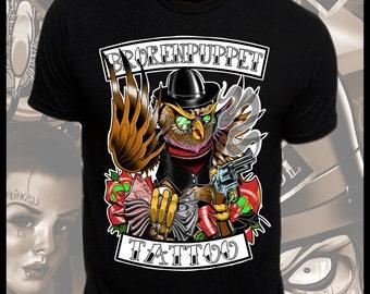 Gangster Owl Tattoo Art T-Shirt