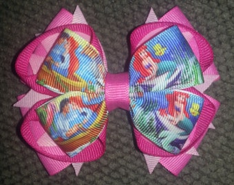 Ariel Little Mermaid Pink Handmade Stacked Boutique Bow