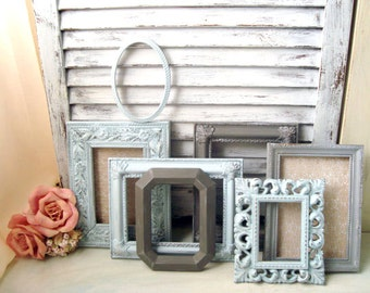 Blue and Gray Vintage Frame Set Ornate Coastal Blue and Grey Picture Frame Gallery Made to Order Picture Frames  Cottage Chic   Shabby Chic