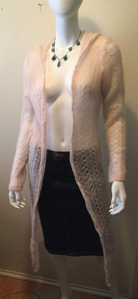 Vintage Bonnie Strauss maxi cardigan hooded sweater baby pink gorgeous feminine XS