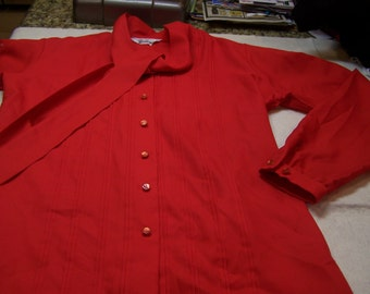 """Gailord red blouse with tying bow collar, 38"""" chest, sz. Medium"""