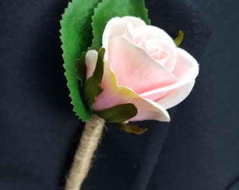 Pink Rose Buttonhole for Pageboy - Traditional Buttonhole, Boutonniere for Boy