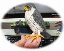 Peregrine falcon, knitted bird, miniature peregrine, peregrine ornament, miniature bird, stuffed Peregrine