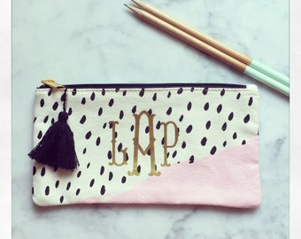 Personalized canvas pencil pouch