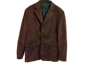 Vintage UC Uomo Collection S. R. L. brown men ticket blazer 100% cotton made in Italy