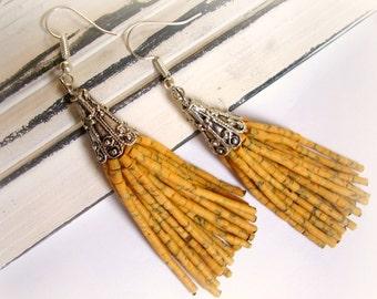 Yellow beaded tassel earrings Fringe earrings dangle Beaded tassle earrings Boho earrings Statement earrings Yellow beaded tassle earrings