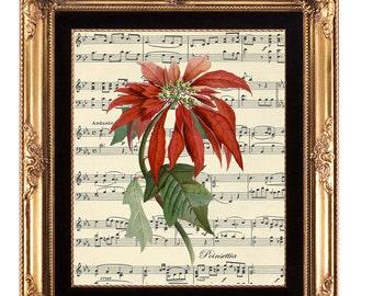 printable wall art, Christmas wall art, digital botanical print, botanical printable, vintage poinsettia print, music background print, 8x10