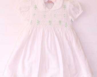 Vintage baby dress, white, (no name) dress size 12-18 mo