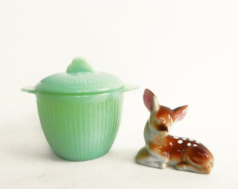 Vintage Fire King Jane Ray Jade-ite sugar bowl Jadite Jadeite Ribbed 50s