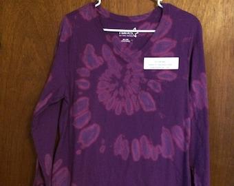 Purple reverse tie dye long sleeved v-neck top, women's extra large XL