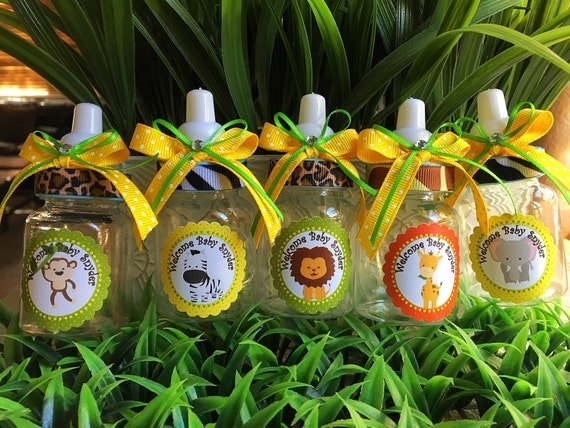 12 safari bottle favors for a boy baby shower favors safari for Baby shower party junge