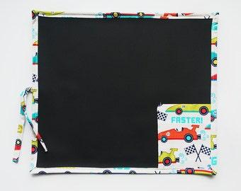 Kid's Chalkboard - Race Cars Chalkboard - Travel Chalkboard - Chalkboard Mat - Portable Chalkboard - Cars Chalkboard - Kid's Birthday Gift