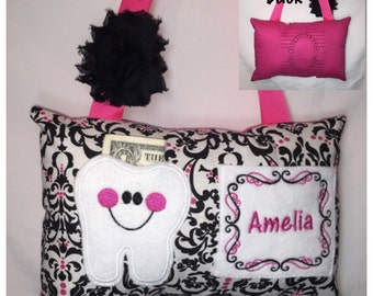 Tooth Fairy Pillow Girl Hot Pink Black Damask Toothfairy Pillow