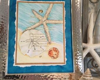 Starfish and Seashell Wedding Invitation Keepsake