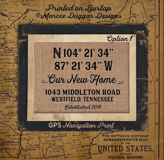 Our New Home| Latitude Longitude | Family Name | Est Date | GPS Coordinates | City State | House Warming Gift | Nautical |#0206