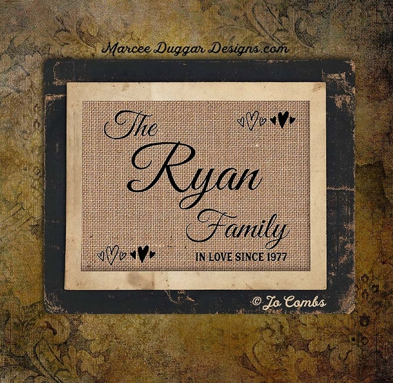 Family in Love | Est Date | Burlap Print | Personalized | #0165