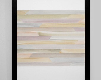 """Art Print, Abstract Painting, Watercolor, Collage - Soft Tans, Greens, Grays, and Purples - """"Mist"""" -  modern art"""