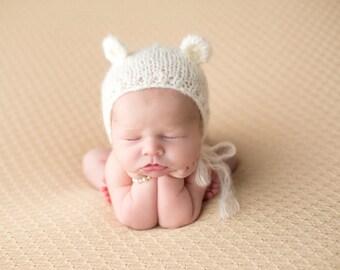 Ivory Mohair Bear Bonnet Newborn Photo Prop Mohair Newborn Prop