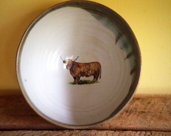 Highland cow cereal bowl, pottery