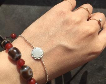 handmade Sterling silver tiny circle bracelet