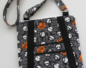 Quilted Crossbody purse, with stylish pockets, and an adjustable strap. Jack Skellington, Nightmare Before Christmas