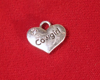 "5pc ""Cowgirl"" charms in antique silver style (BC1121)"