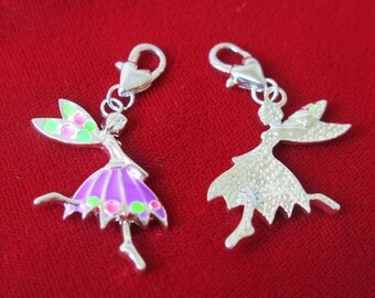 "BULK! 15pc clip-on ""dancing girl"" charms in silver style (BC302B)"