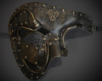 Men's Masquerade Mask, Steampunk, Steampunk Masquerade Mask, Phantom Mask, Steampunk Accessorie