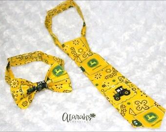 Handmade John Deere adjustable necktie / John Deere Bow tie / Photo prop / John Deere Cake Smash / Made in USA