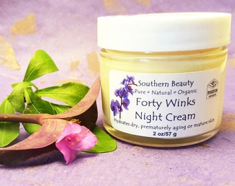 Forty Winks Night Cream, Moisturizing, Beauty Cream, Artisan, Bio Actives, Organic Ingredients, Natural, Mature Skin, Night Replensing,