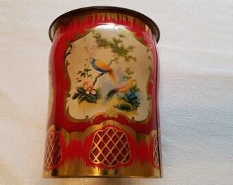 Vintage 1950s George Horner Tin England Birds Red