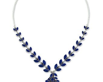 Sterling Silver and Lapis Lazuli Petals Necklace
