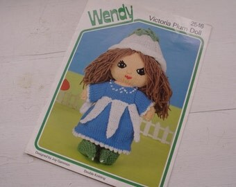 Vintage Wendy Victoria Plum Doll Knitting Pattern 2546