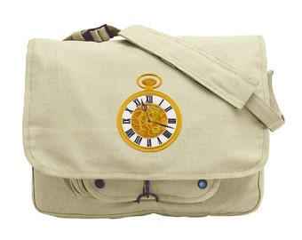 Tick Tock Pocket Watch Embroidered Canvas Messenger Bag