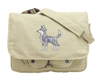 Wolf with Flourish Embroidered Canvas Messenger Bag