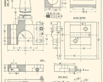 Piston Rod & Crosshead Machine Drawing 1930s Vintage industrial Print Engineering Drawings blueprint Art Plan Gift Home