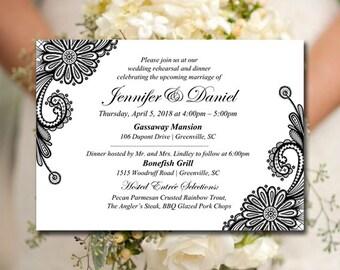"Black Wedding Rehearsal Invitation Template - Wedding Dinner Template ""Luna Lace"" DIY Invitation Download - Rehearsal Dinner Invitation"
