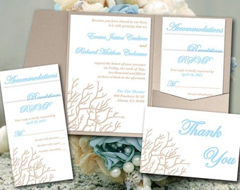 "Coral Wedding Pocketfold Template - Beach Wedding Invitation ""Coral Branch"" Sandy Tan Baby Blue RSVP Accommodation Reception Thank You"
