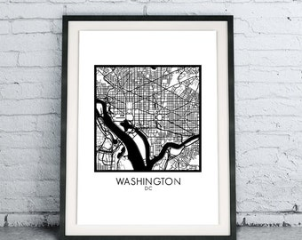 Washington DC Printable City Map Download DIY, Modern Minimalist Scandinavian Design, City Map Chic Living Room Decor, B&W