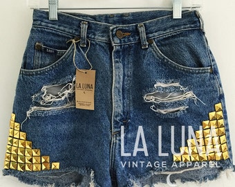 """SALE Distressed Vintage High-Rise Denim Shorts with Gold Pyramid Studs, Waist Size 26"""""""