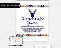 Instant Download Mint, Orange, Dark Navy Woodland Baby Shower Party Diaper cake game Baby shower DIY Printable (PDW002)