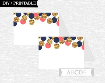 Instant Download Coral Navy Glitter Gold Tented Food Labels Birthday party Baby shower DIY Printable (CON203)