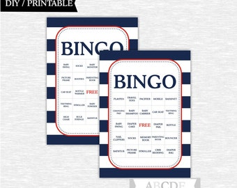 Instant Download Red and Navy Nautical Boy Baby shower Game, Traditional Bingo 30 Cards DIY Printable (PDNMO106)
