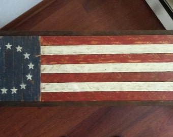 Wooden American Flag1776handmade From Rustic