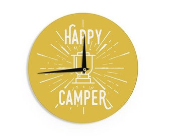 """Wall Clock - Yellow Typography Jackie Rose """"Happy Camper"""" JB1017A Great Gift Idea!"""