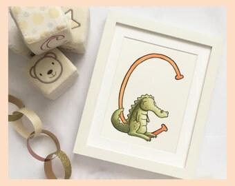 "C is for Crocodile. Alphabet nursery art: 8""x10"" Mounted Print"