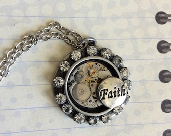 Steampunk, Steampunk Necklace, Women's, Women's Jewelry, Timepiece, Womens Jewerly, Faith