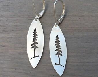 Silver Pine Tree Silhouette Earrings