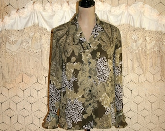 Bohemian Clothing Olive Green Paisley Blouse Petite Long Sleeve Chiffon Button Up Blouse Hippie Boho Large Vintage Womens Clothing
