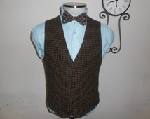 1980s Houndstooth Tweed Vest / Brown Waistcoat / Size 36 / Small / Sm / S / Made in USA / Vtg / 80s